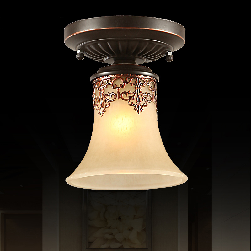 European Retro Hanging Lamp Glass Shade Ceiling Light E27 Vintage Balcony Hallway Bedroom Living Room Fixture Lighting CL202 jane european pastoral creative lighting restaurant lamp bedroom balcony living room ceiling lighting hanging iron