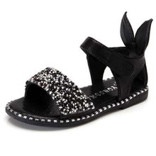e7c188031 2018 Hot Sale Baby Girl Sandals Fashion Bling Shiny Rhinestone Girls Shoes  With Rabbit Ear Kids Flat Sandals 13-22CM