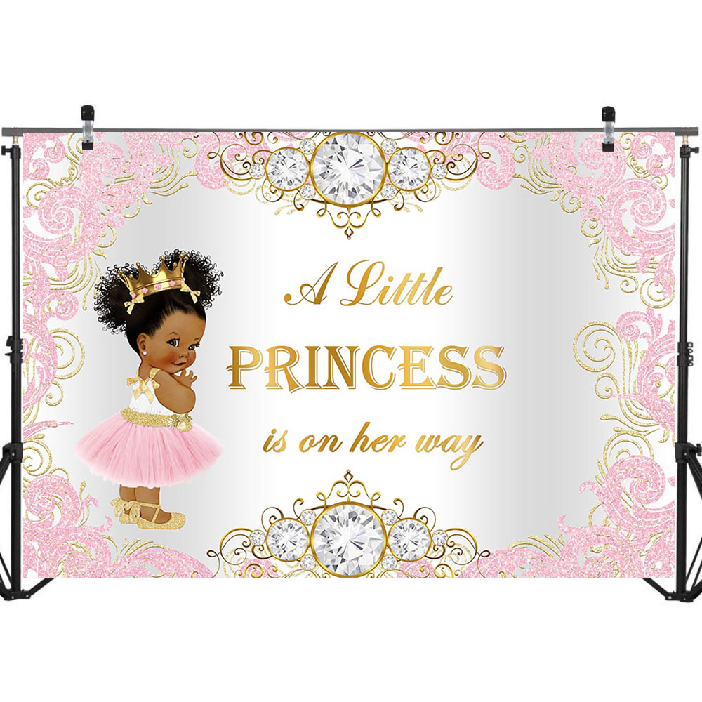 NeoBack Royal Princess Baby Shower Backdrop Pink Gold Princess Background Vinyl Princess Baby Shower Backdrops in Background from Consumer Electronics