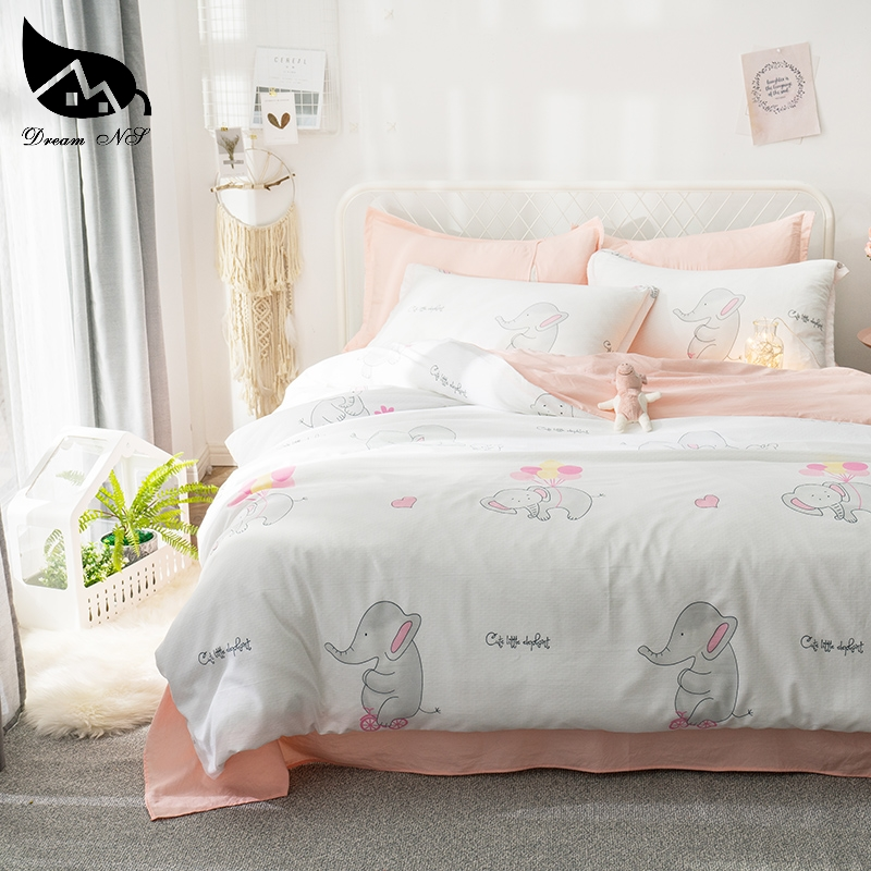 US $10.2 40% OFF|Dream NS Pink+White Washed Cotton Bedding Set For Elephant  Bedclothes Pillowcase Warm Soft Home Bedroom Quilt Duvet Set / sheets-in ...