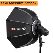 Triopo 90cm Speedlite Flash Octagon parasol Softbox zdjęcie przenośne zewnętrzne miękkie pudełko do Godox V860II TT600 YN560IV YN568EX