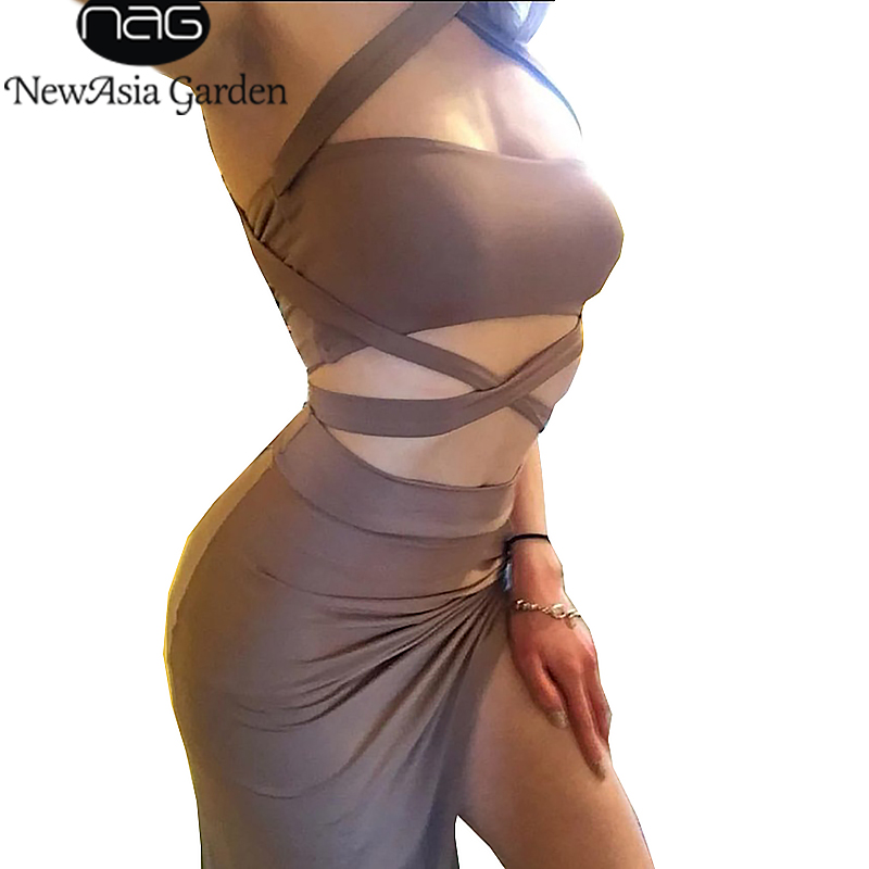 NewAsia Two-Piece Sets Halter Tops&Women Wrap Dress Evening Party Summer Asymmetrical Midi Dress Choker Club Bandage Dress Newes