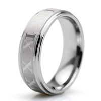Vintage Roman Numerals 6mm Tungsten Carbide Rings For Women Brushed Matte Center Comfort Fit Wedding Engagement