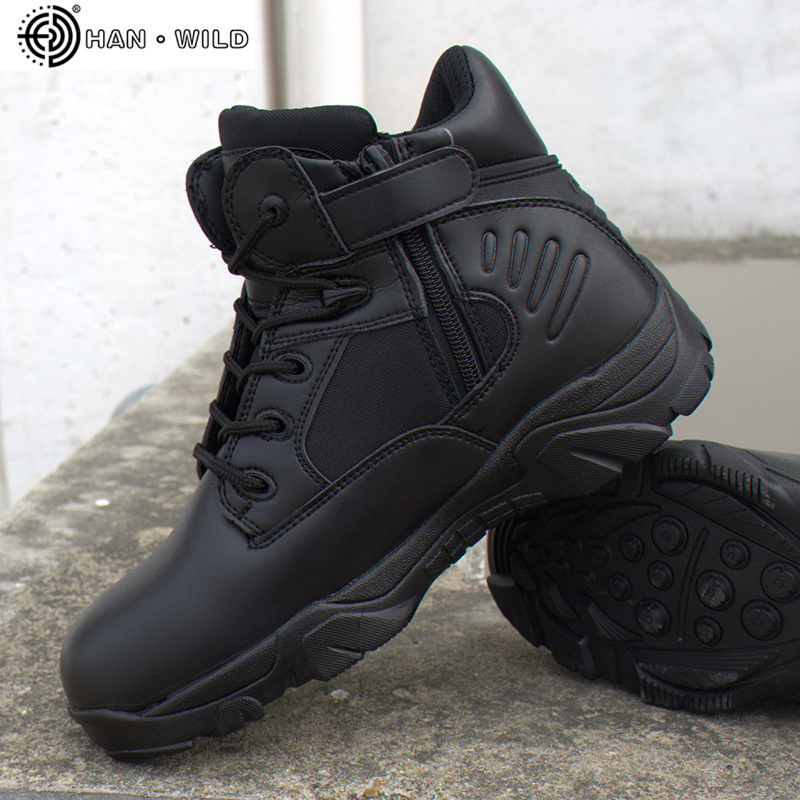 30df7e7d88c Spring Men Military Tactical Boots Waterproof Genuine Leather Lace Up Black  Desert Combat Army Ankle Boot Men's Work Shoes