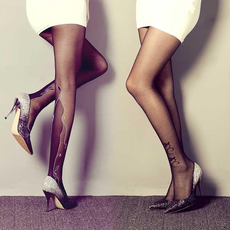 Tuyệt vời Mùa Xuân Mùa Hè Phụ Nữ Vớ Đen Sexy Xăm Vớ Thời Trang Hợp Thời Trang Mỏng Thêu Đáy Quần Lụa Pantyhose cho Nữ