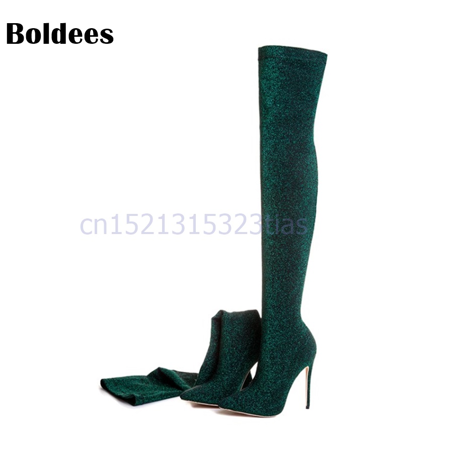 Sexy High Heel Sock Boots Women Over The Knee Boots Pointed Toe Sequined Stretch Newest Fashion Long Boots jawakye black wool knit sock boots women pointed toe rhinestone heel stretch long boots woman fashion over the knee boots