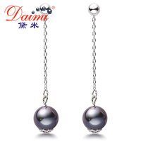 DAIMI Black Tahitian Pearl Earrings 9 10mm Perfect Round Silver Drop Earrings Fine Jewelry Gift For