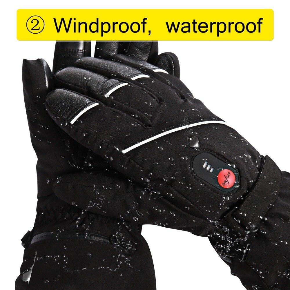 Guantes de esquí de invierno con batería eléctrica de calor SHGS15, guantes de pesca de esquí de invierno, guantes de cuero de 3 niveles para hombres y mujeres DHL - 6