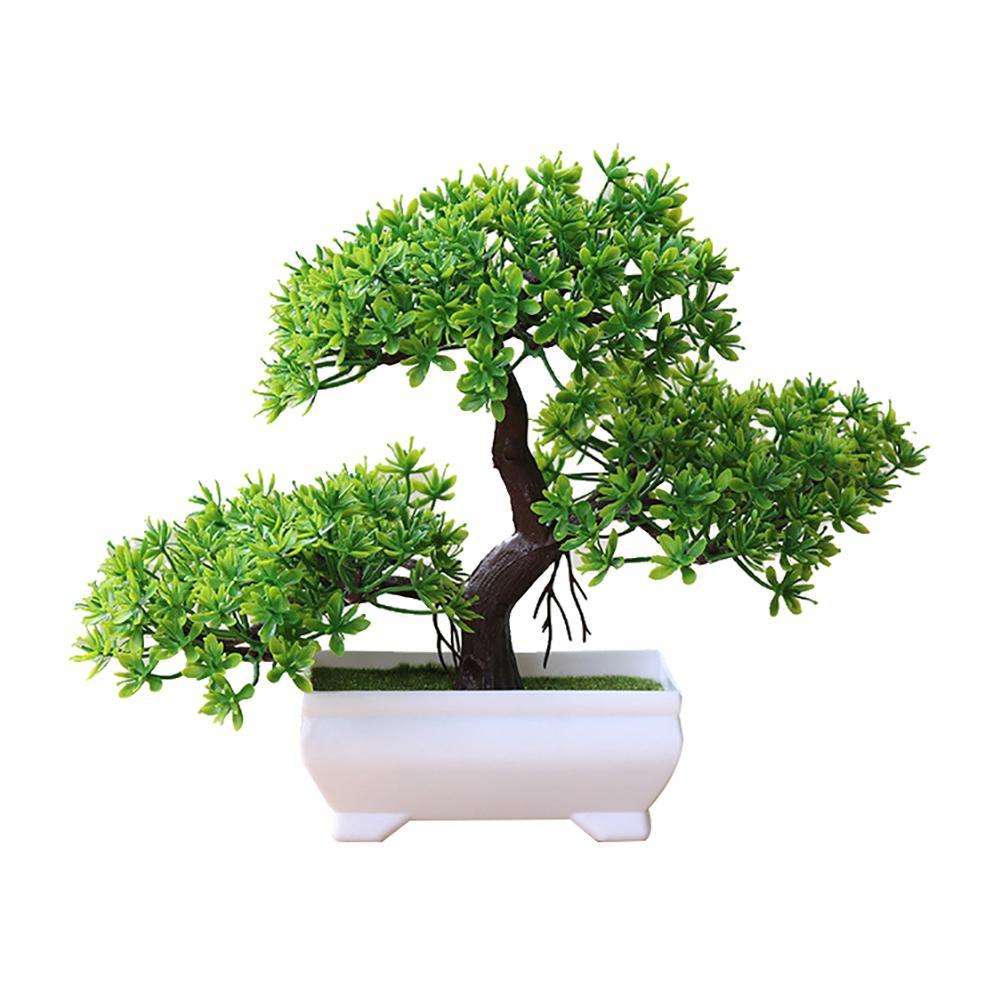 b8a73fcfa71 Flores artificiales falso olla verde bienvenida Pino Bonsai Artificial  simulación planta en maceta ornamento decoración para el hogar