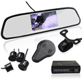 Auto Reverse Parking Sensor with Rear View Mirror 4.3 inch LCD Display Parktronic Sensor 4 Car Detector Rearview Backup Camera