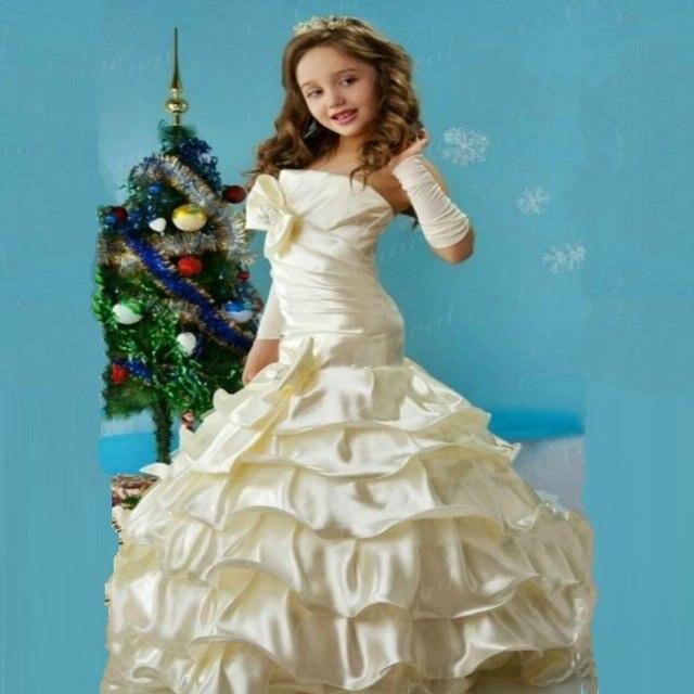 41698d740 Caliente venta nueva colección sirena niña de las flores vestidos con  cuadro verdadero del arco vestido