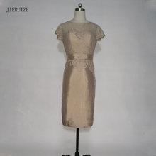 b7cc8aaa8f JIERUIZE robe de soiree Brązowy Koronki Krótkie Sukienki Krótkie Rękawy matka  panny Młodej Suknie Wieczorowe Sukienki Wizytowe