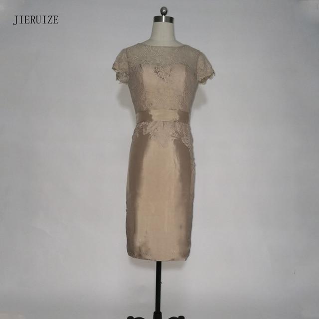 Robe de soirée JIERUIZE Marrom Laço Curto Vestidos de Noite Mangas Curtas Mãe dos Vestidos de Noiva Vestidos Formais