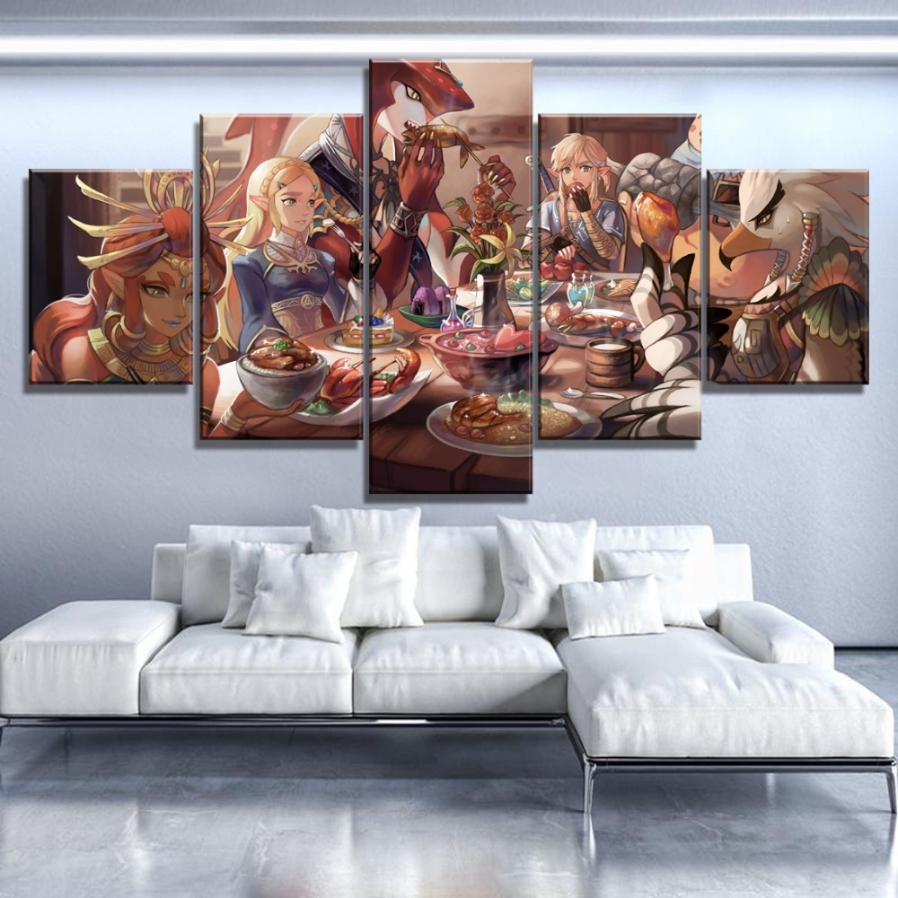 5 Piece HD Print Large Legend Of Zelda Paintings on Canvas Wall Art for Home Decorations Wall Decor Unique Gift Wall Picture in Painting Calligraphy from Home Garden