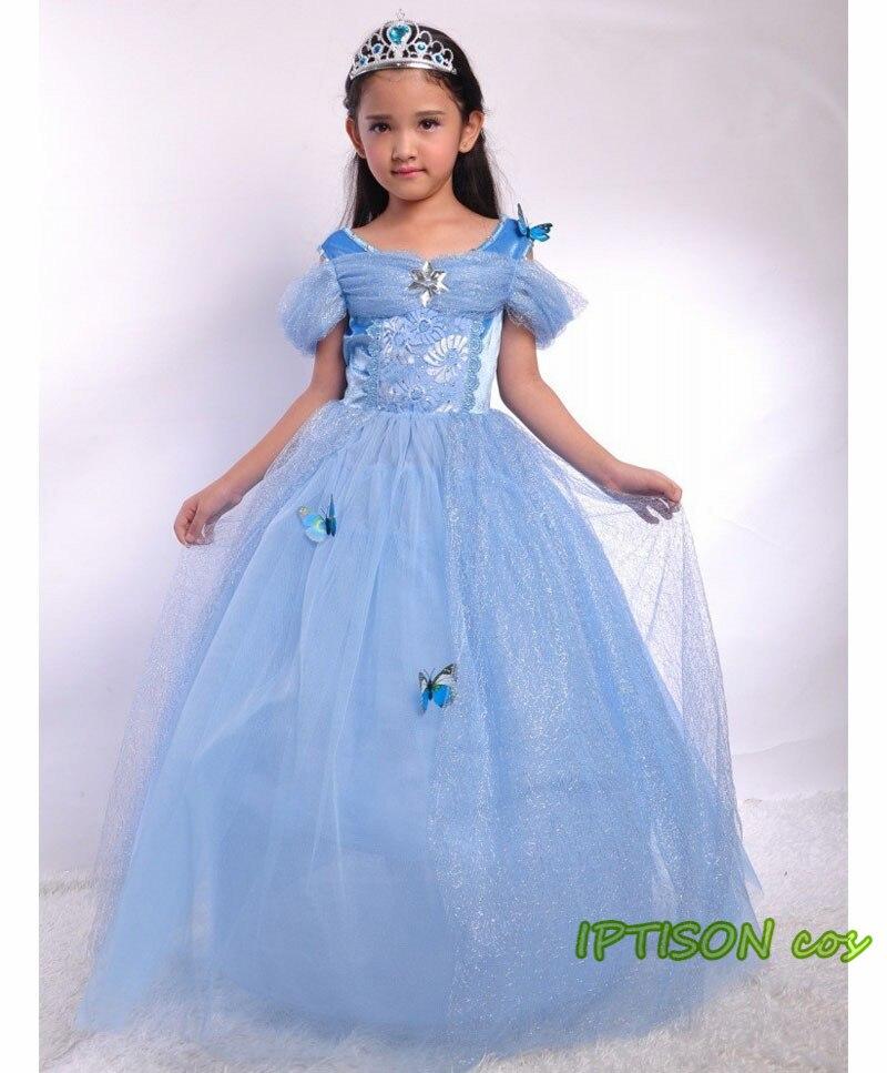 2018 New Cinderella Dress Girl Blue Prom Dresses For Kids Princess Belle Costume ...