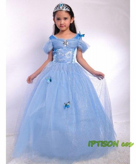 2018 neue Cinderella Kleid Mädchen Blau Prom Kleider Für Kinder ...