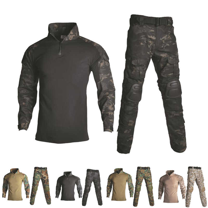 Military Uniform Shirt + Pants With Knee Elbow Pads Outdoor Airsoft Paintball Tactical Ghillie Suit Camouflage Hunting Clothes