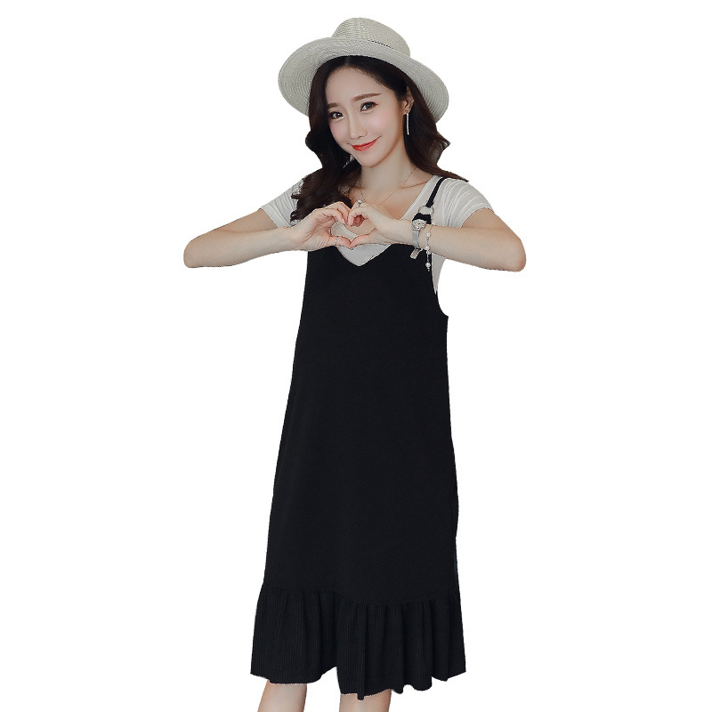 2018 Solid Cotton Short Dress Summer New Fashion Mid-length Pregnant Women Two Sets Long Knee-length Maternity Wear Clothing