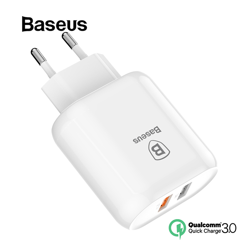 Baseus QC 3.0 Dual USB Charger Adapter EU Plug Travel Wall Quick Charge Charger For iPhone Samsung Xiaomi Mobile Phone ChargerBaseus QC 3.0 Dual USB Charger Adapter EU Plug Travel Wall Quick Charge Charger For iPhone Samsung Xiaomi Mobile Phone Charger