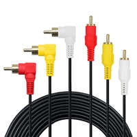 3 RCA Cable - Premium Gold Plated 90 Degree Right Angle RCA Audio / Video Cable 3 Male To 3 Male Composite Video Audio AV Cable
