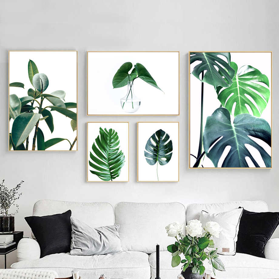 Tropical Monstera Leaf Plant Nordic Posters And Prints Wall Art Canvas Painting Scandinavian Wall Pictures For Living Room Decor