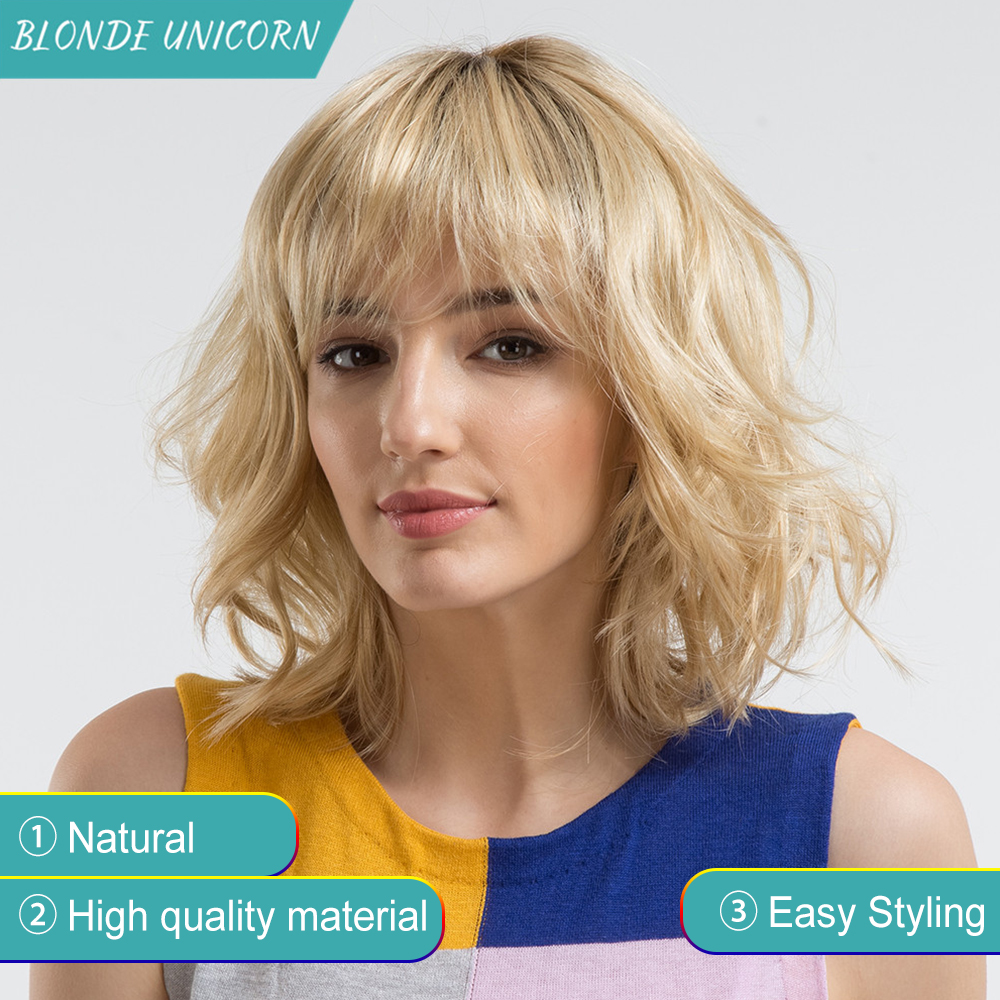 BLONDE UNICORN Synthetic Wig With Bangs Dark Root Ombre Blonde 14 Inch Sexy Fluffy Water Wave Blonde Hair Wigs For Women