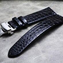 Ремешок для часов из натуральной крокодиловой кожи 16 мм, 18 мм, 19 мм, 20 мм, 21 мм, 22 мм, ремешок для часов кофейного цвета с черной бабочкой, ремешок для часов