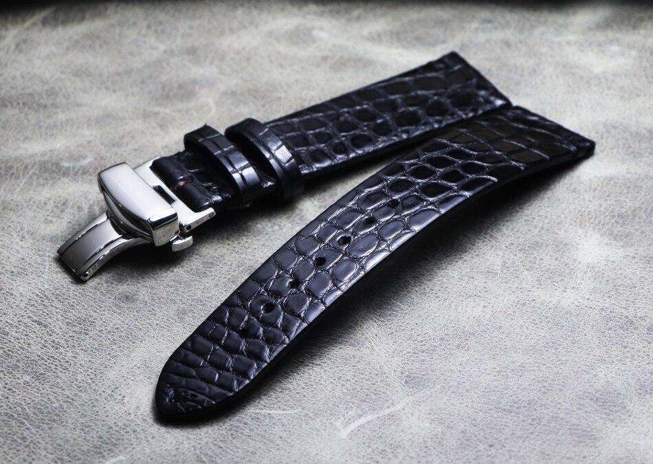 Nouveau bracelet de montre en cuir de Crocodile véritable 16mm 18mm 19mm 20mm 21mm 22mm montres bracelet café noir papillon boucle bracelet de montre