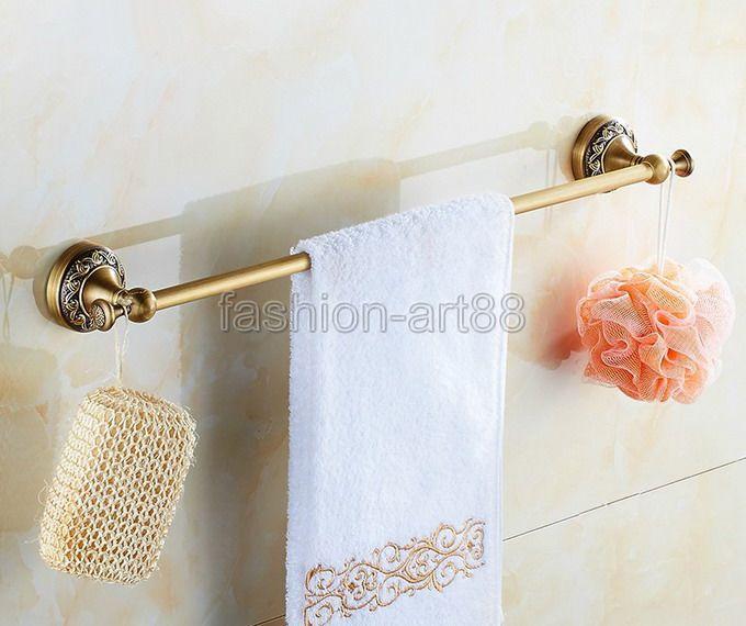 ФОТО Retro Antique Bronze Carved Flower Pattern Bathroom Accessory Wall Mounted Bath Single Brass Towel Bar or Towel Rail Rack aba482