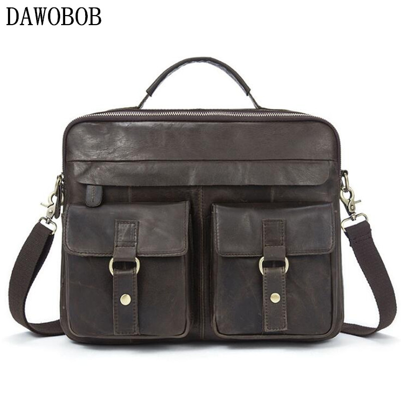 Genuine Leather mens bags Crossbody Bags Casual Totes Men Briefcases Laptop messenger bag men's shoulder bag handbags все цены