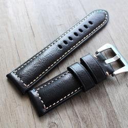 Высококачественный мягкий 24 мм Для мужчин ретро черный из натуральной кожи ручной работы наручные часы band ремень матовый черный и