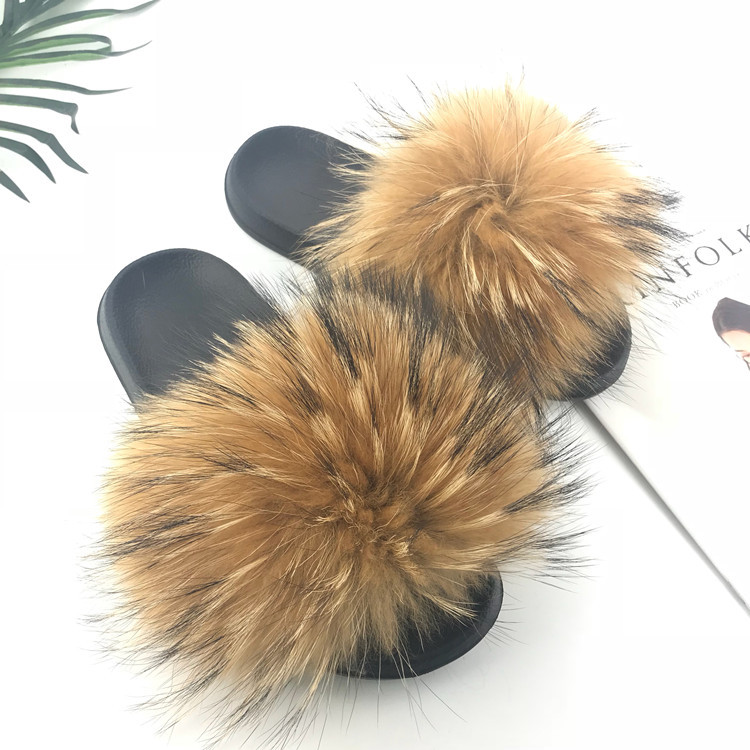 Real Raccoon Fur Slippers Women 2018 Sliders Casual Fox Hair Flat Fluffy Fashion Home Summer Big Size 45 Furry Flip Flops Shoes
