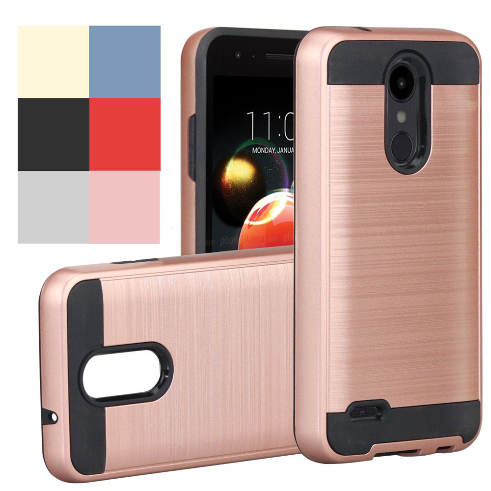 2 In 1 Hybrid Brushed Armor Case Anti Scratch/Slip Hard Back Cover For LG K10 2018/K30/Premier Pro LTE/K10 Alpha/K11/K10+ (2018)