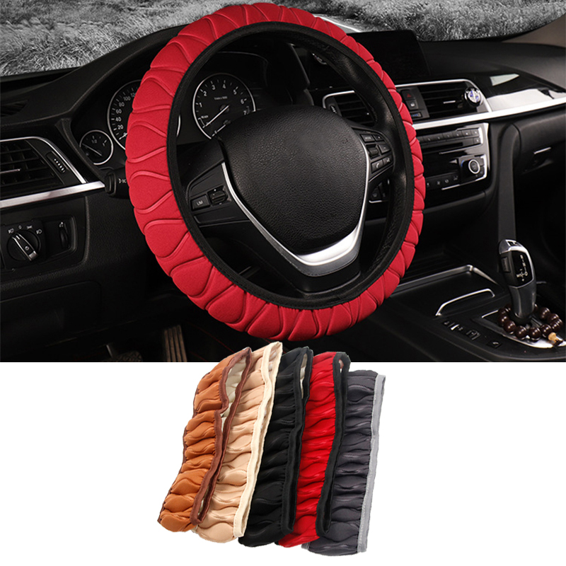 Car Steering Wheel Cover Plush Sponge Braid On The Wheel Covers Automobile Universal Steer Protection Car-styling Accessories