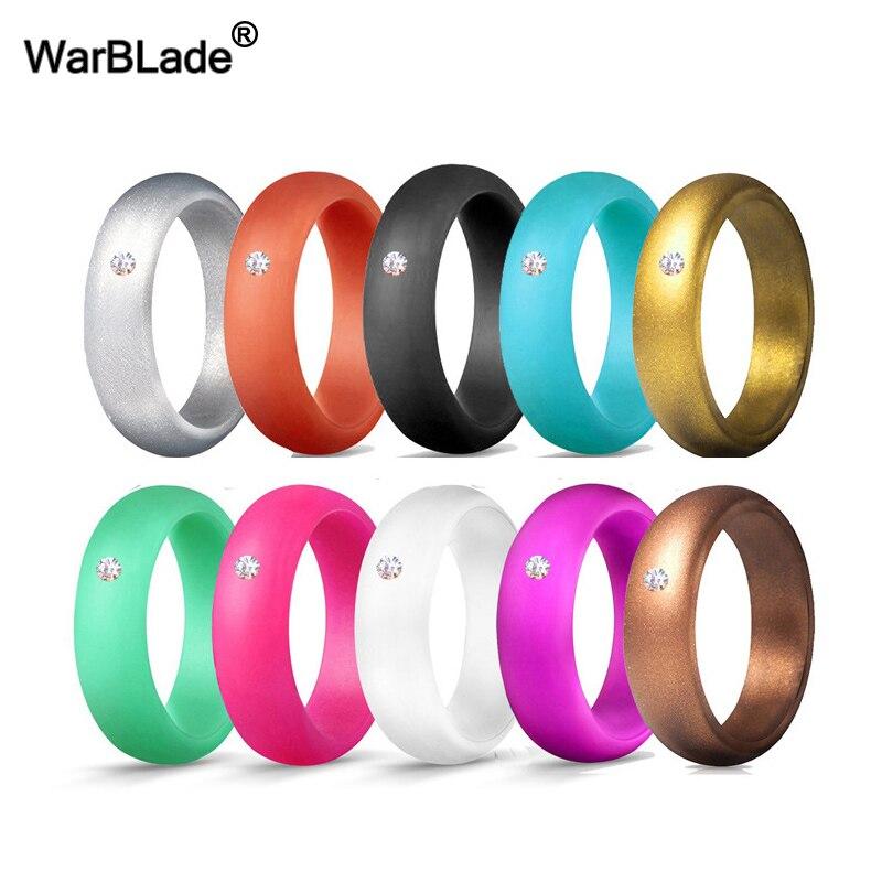10 Teile/satz 5,7mm Food Grade Fda Silikon Ring Hypoallergen Crossfit Flexible Silikon Finger Ringe Mit Strass Für Frauen