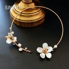 SINZRY original 100% hecho a mano natural caparazón de perla de agua dulce collar gargantilla de flores banda para las mujeres nupcial joyería regalo