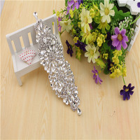 Free Shipping 2PCS Rhinestone Patch And Crystal Appliques Trimming For Bridal Wedding Sash RT017 7 3inch