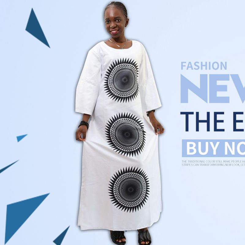 H&D 2017 New African dresses For Women Top Bazin African Traditional white clothing long sleeve For ladies without scarf