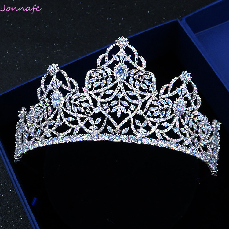 Jonnafe Luxury Queen Crown AAA Zirconia Bridal Tiara Wedding Headpiece Hair Accessories Women Party Prom Crowns цена 2017