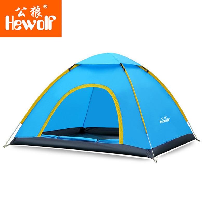 ФОТО Hewolf 2 Person Quick Open Ultralight Tent Fully Automatic Waterproof Tent 3 Seasons Anti UV Single Layer Cadir Camping Tent
