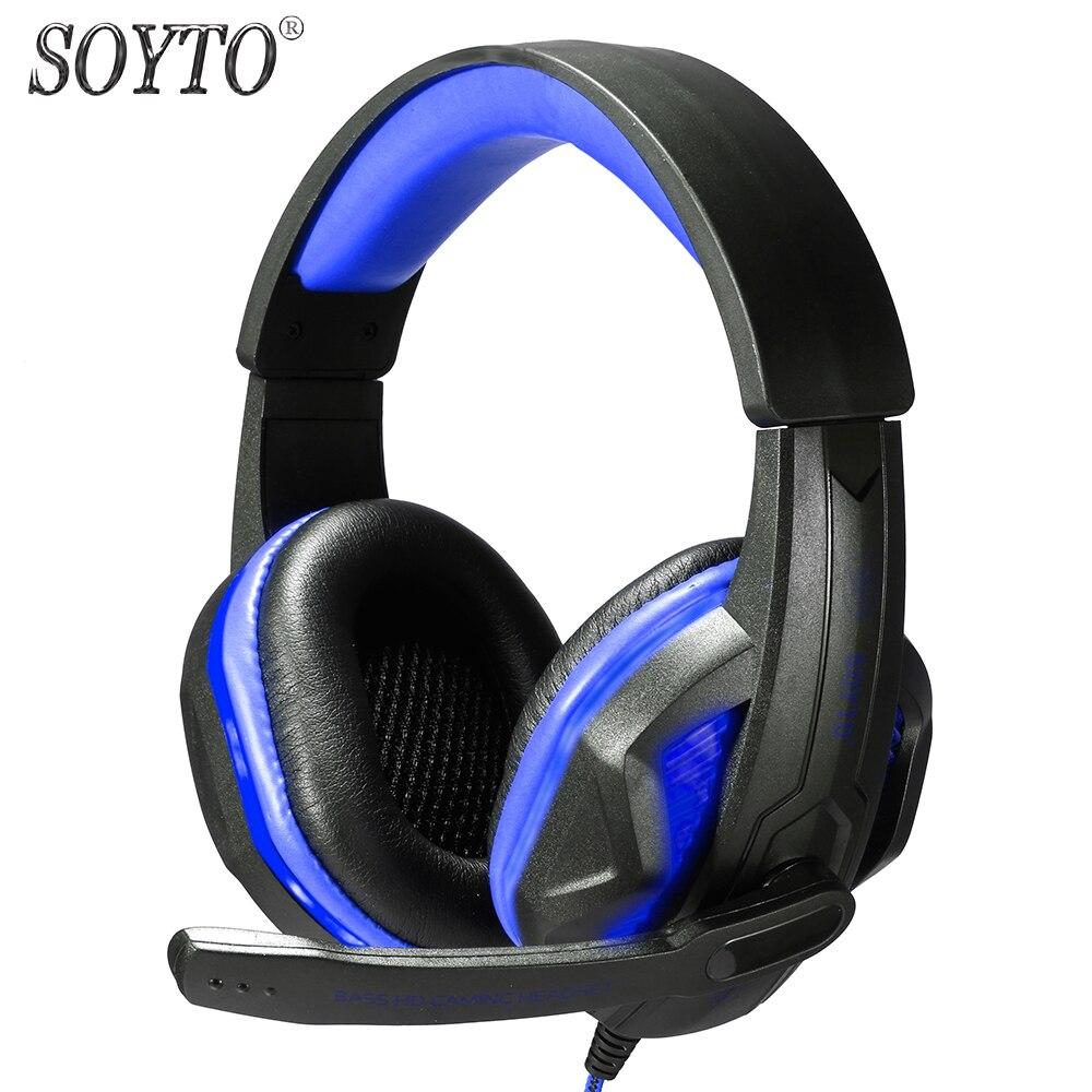 SOYTO SY711MV 오리지널 유선 헤드폰 게임용 헤드셋 LED 가벼운 스피커폰 이어폰