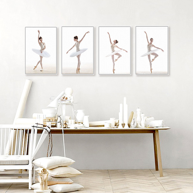 Modern Ballet White Swan Beautiful Girl Dancer Art Prints Poster Wall Picture Canvas Painting No Frame Ballerina Home Decor