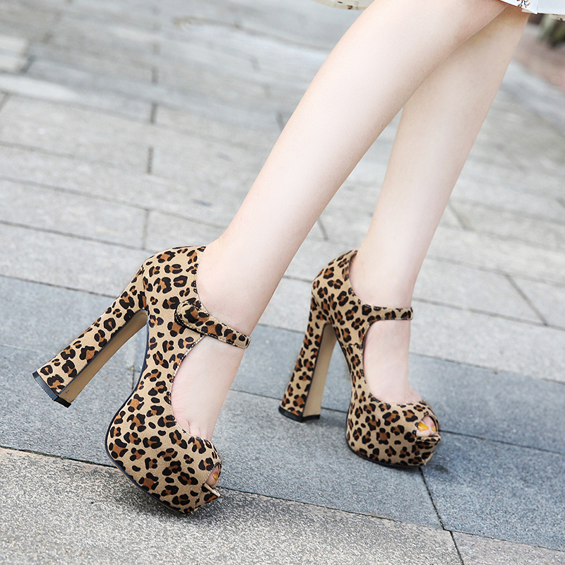 35-46 Size Leopard Women Pumps Gladiator High 14cm Platforms 4cm Peep toe high heel Sexy Lady party wedding Nightclub Shoe MD-25 цена 2017