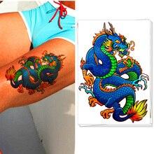 Blue Dragon Temporary Tattoo Body Art Flash Tattoo Sticker Waterproof Adult Sex Products Car Styling Henna Tatoo Wall Sticker