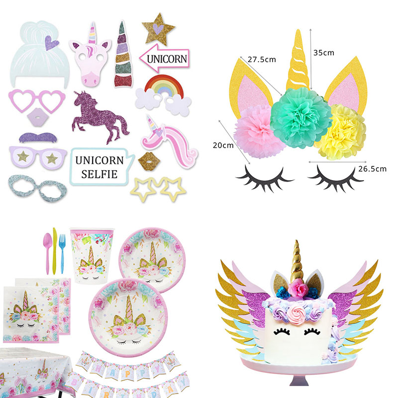 Girl Unicorn Party Birthdays Decors Disposable Tableware Set Photo Booth Props Cake Topper Birthday Decoration Kids In DIY Decorations From