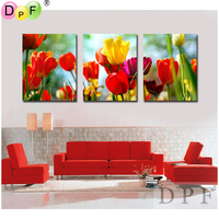 3D Color Tulip Flower Diy Diamond Embroidery Painting Square Rhinestone Cross Stitch Triptych Home Decor Kits