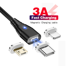 Magnetic Cable Micro USB Type C For iPhone Lighting  3A Fast Charging Wire Type-C 1M Charger Phone