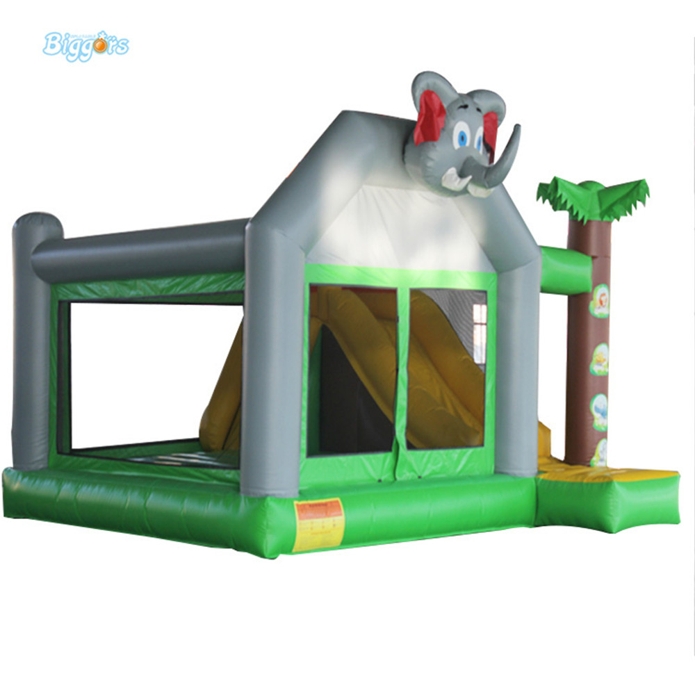 Commercial Inflatable Jungle Bouncer with Slide Combo with Elephant