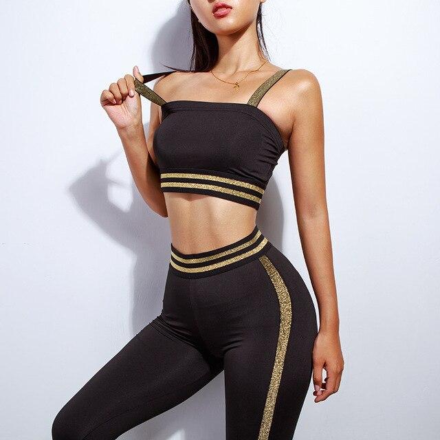 2 piece set women suit crop top legging outfit stripes fitness sportswear 4