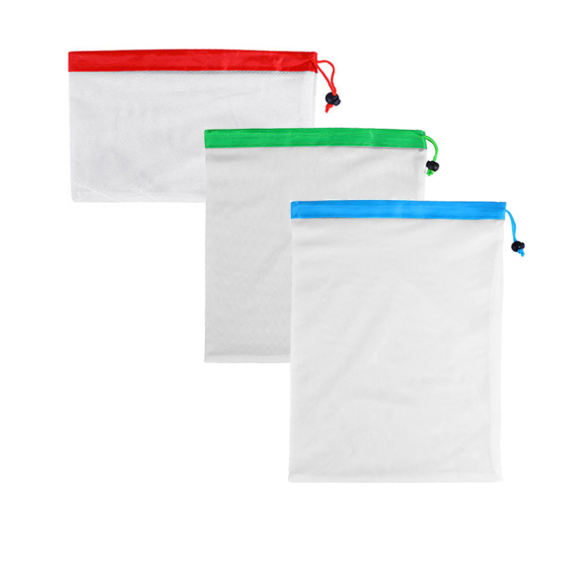Reusable Mesh Produce Bag Washable Eco-Friendly Bags for Grocery Shopping Fruit Vegetable Organizer Pouch 3 Sizes Storage Bag flat panel display